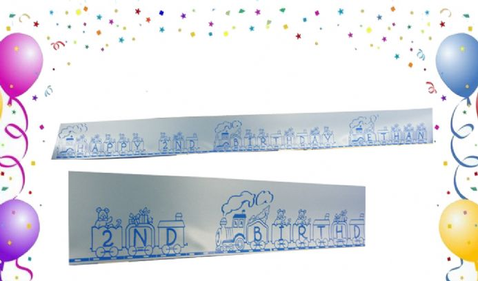 PERSONALISED RIBBON BANNER TRAIN WITH TOYS | Hot Graphix & Signs